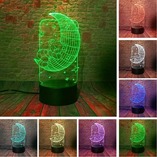 Nachtlicht Optical Illusion Lamp New 3D Lovely Bär Auf Mond Sterne Kinder 7 Farben Dimmen Gradienten Nacht Illusion Licht Led Baby Weihnachten Happy Year Geburtstagsgeschenke 9000 Stereo