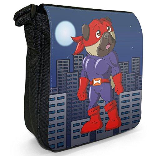 Superhero Action Hero Animals-Borsa a tracolla in tela, piccola, colore: nero, taglia: S Nero (Bone Master Pug Man)
