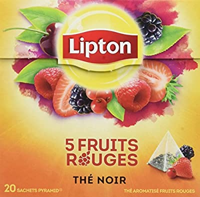 Lipton Thé Noir aux 5 Fruits Rouges, Label Rainforest Alliance 60 Sachets (Lot de 3x20 Sachets)
