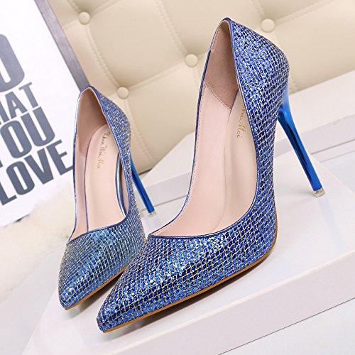 Notte a tacco alto scarpe europee e di stile americano scarpe donna tacco alto luce punta ugello video sexy sottile singola notte scarpe The blue