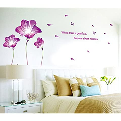 Lirio Violeta Flores Mariposas Inglés letras adhesivo de pared Casa adhesivo extraíble Salón pintado dormitorio cocina Lienzo PVC Murales de incienso ventana puerta decoración + 3d Frog Pegatina para coche regalo