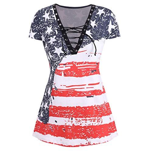 ZEELIY ❀ Damen Mode Oberteile Elegant ❀ Kurzarm V-Ausschnitt USA Falg Muster Fit Bluse Casual Grosse Grössen Bequem Frauen Sommer Tunika Hemd T Shirt Tops und Blusen
