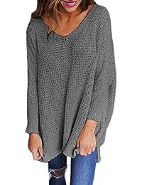 01459bcacc29ab OUFour Autunno e Inverno Donna Lungo Maglieria Scollo V Maglie a Manica  Lunga Pullover Sweater Casual Maglione…