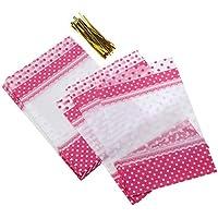 BESTONZON Bolsas de Dulce de Navidad de Plástico Bolsa Transparente de Galletas con Seda Materiales de