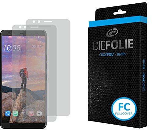 Crocfol Bildschirmschutz für HTC U12+: 2X DIEFOLIE Schutzfolie, 1x DASFLÜSSIGGLAS flüssiges Glas - Fullcover Folie zur Nutzung ohne Schutzhülle