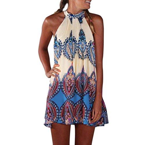 Fuibo Casual Sleeveless Neckholder Boho Print Kurzes Kleid Sommerkleid Strandkleid Casual Vintage Kleid für Frauen (S, Blau)