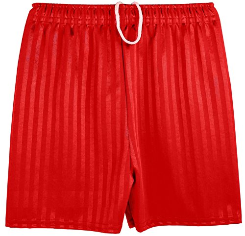 Boys Girls Unisex Shadow Stripe Gym Sports Football Games School PE Shorts (X-Large (9-10 Years), Bright Red)