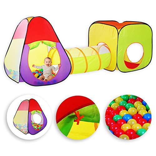 KIDIZ® Spielzelt Spielhaus Babyzelt | 200 Bälle | Bällebad | Kinderzelt | Ideal für Zuhause & im Garten | Tasche | Tunnel XL