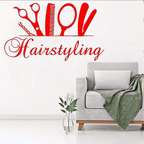 Wandtattoo Haarstyling Salon Poster barbershopDecoration Wand Fensteraufkleber Schönheitssalon Aufkleber Vinyl Wandkunst Aufkleber24 * 42 cm