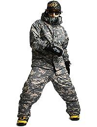 Southplay Chaqueta y pantalón de esquí-snowboard de diseño militar impermeable para hombre-Luz militar