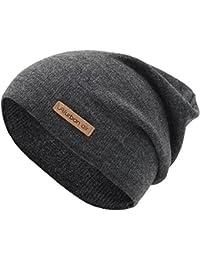 urban air | Street Classics | Slouch Beanie, Mütze, mit Lederpatch | Damen, Herren | für das ganze Jahr, weicher Stoff | in schwarz, dunkel grau, hell grau, dunkel blau oder weinrot