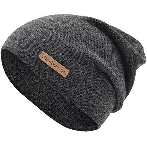 urban air | Street Classics | Slouch Beanie, Mütze, mit Lederpatch | Damen, Herren | für das ganze Jahr, weicher Stoff | in dunkel (Beanie Winter Mütze)