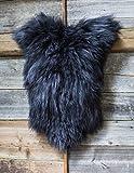 ESTRO | Tappeto in Pelle di Pecora Icelandic Autentico | Brillante e Lussuoso | varietà di Colori ESI (Nero, 120 cm)