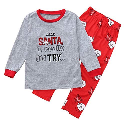 Moonuy 1 STÜCK top + 1 PC Hosen 2 STÜCKE Weihnachten Pyjamas Mama Vater Baby Langen Ärmeln Pyjamas Brief Drucken Top + Hosen Familie Kleidung Pyjamas