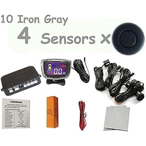 PolarLander Car Pantalla LCD sensor de aparcamiento 4 sensores del estacionamiento de reserva reverso del radar del sistema detector de kit de coche para todos los 1 juego de coches 10- hierro gris