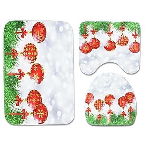 Weihnachten Decor AMUSTER 3PCS Weihnachten Badezimmer rutschfeste Badematte + Deckel WC-Abdeckmatte + Badematten-Set Anti-rutscher Badvorleger Wasseranziehende Badteppich