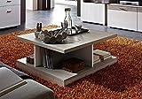 Couchtisch, Tisch, Wohnzimmertisch, Salontisch, Sofatisch, Kaffeetisch, Silber-eiche, weiß, Maße: B/H/T ca. 80/35/80 cm
