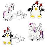 G-H* 2 PAAR Ohrstecker Pinguin + Pegasus Einhorn SET 925 Echt Silber Sterlingsilber Mädchen Kinder Pferde Ohrringe Emaille