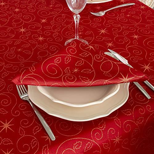 Bg europe tovaglioli con stelle di natale di alta qualità; ref. christmas star red, trattamento anti macchia, colore rosso (6 tovaglioli 18 x 18