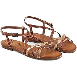 Sandalia piel tiras cuero y strass Planta acolchada. Suela goma
