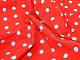 Polycotton-Stoff Kleid Print, Gepunktet, Rot & Weiß, Pro