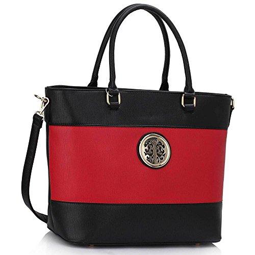 TrendStar Frauen Designer Handtaschen Damen Promi Stil Kunstleder Umhängetasche Neue Schwarz/Rot