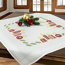 Juego de bordado VELAS DEL ADVIENTO / Juego completo de mantel previamente dibujado para el bordado en punto de cruz / Kit de bordado / Bordado para el Adviento y la Navidad