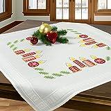 Stickpackung ADVENTSKERZEN / Komplettes vorgezeichnetes Kreuzstich Tischdecken Set / Winter Stickset mit Stickvorlage für Erwachsene / Sticken zur Adventszeit und Weihnachten