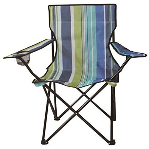 Eurotrade W 2001645 Stripe Folding Camping Deck Chair Outdoor Fishing Picnic Beach Garden Patio Furniture Seat, Multi-Colour, 50 x 50 x 80 cm