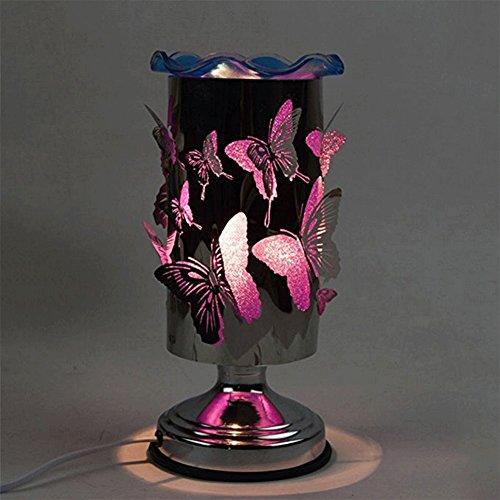 Rot Duftlampe (QINAIDI Schmetterling Duft Tischlampe, Berührungsempfindliche Nachttischlampe Schlafzimmer Dimmen Ätherisches Öl Duftlampe, (Rot, Blau, Lila),Purple)