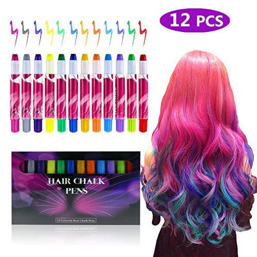 Fixget 12 Farben Haarkreide, temporäre Haar Kreide Set Metallische Glitter Haare Kreide Stifte für Parties, Cosplay, Weihnachten saubere Hände
