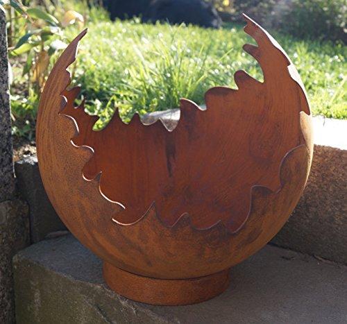Edelrost Deko/Feuerkugel Risse mit Standring Gartendekoration Metall