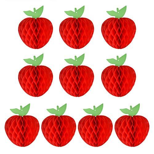 FEPITO 10 Pack 7 Zoll Apfel Gewebe Bienenwabe Hängend Rot Papier Apfel Dekorationen Obst Dekoration für Zurück zur Schule, Babydusche