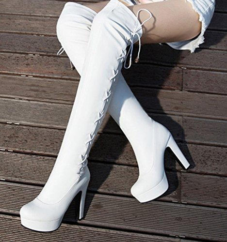 Sexy Blanc Cuissardes Femme Aisun Tige Rond Bottes Bout Haute 8nq8rY