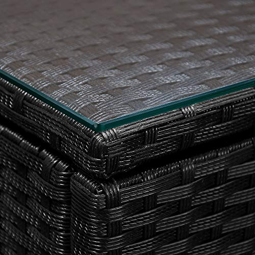 Deuba Poly Rattan Aluminium Lounge Set Schwarz   wetterbeständiges Alu-Gestell   Einzelelemente flexibel kombinierbar   UV-beständiges Polyrattan   Sitzgarnitur Couch Sitzgruppe Bild 4*