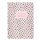 1 Schönes DIN A4 Schulheft, Rechenhefte mit Streu Gänseblümchen auf rosa Lineatur 22 (kariertes Heft)