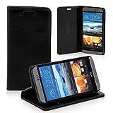 Logic Seek Case für HTC One M9 Hülle Leder Flip Cover Schutzhülle - Schwarze Lederhülle im Book-Style mit Standfunktion und Kartenfach für HTC One M9 - Schwarz