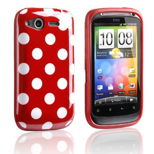 Tinxi Silikon Schutzhülle für HTC Desire S Hülle Etui Skin Silicon Cover Case Rot mit Weiß Punkt Polka Dots