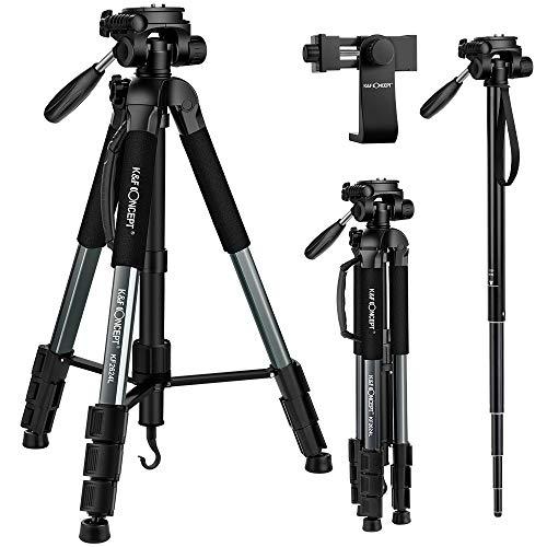 K&F Concept 173cm leichtes Stativ Reisetativ Fotostativ mit 3-Wege-Schwenkkopf für Smartphone DSLR SLR Canon Nikon Sony Olympus mit Handy Halterung