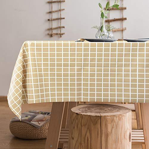 Jaoul Vinyl-Wachstuch-Tischdecke, Kunststoff, schwer, wasserdicht, auslaufsicher, klassisch, Schlichter Stil, Chic für den Sommer für rechteckigen Tisch 55