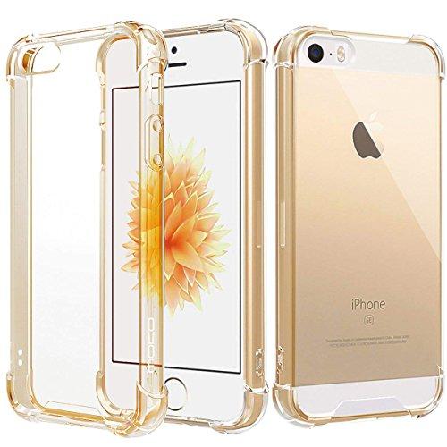MoKo iPhone SE Hülle/iPhone 5 Hülle/iPhone 5S Hülle,Verstärkte Ecken TPU Stoßpolster + Kratzfeste Hybrid Robuste transparente Abdeckung für Apple iPhone SE/iPhone 5/iPhone 5S - Transparent Gold