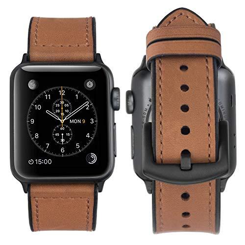 Kompatibel Apple Watch Series 4 Armband 44mm Leder, Apple Watch Armband 42mm Echtlederband/Sweatproof Gummi Hybridband Ersetzen Apple Watch Series 4(44mm)/Series 3/Series 2/Series 1 - Hybrid Braun