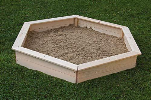 Gaspo Fichtenholz Sandkasten 6-Eck - Außenmaß: 160x142 cm - 3-teilige Abdeckung auch ALS Sitzverbreiterung nutzbar - 180 kg Füllvolumen