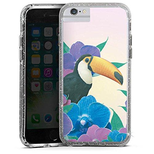 Apple iPhone X Bumper Hülle Bumper Case Glitzer Hülle Papagei Bird Vogel Bumper Case Glitzer silber