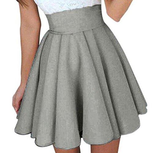 Siswong Damen Petticoat Rock, Teenager Mädchen Hohe Taille Knielang Pettiskirt Plain Hochzeit Party Kurze Kleid Unterrock (EU34=CNM, Grau/Rock)