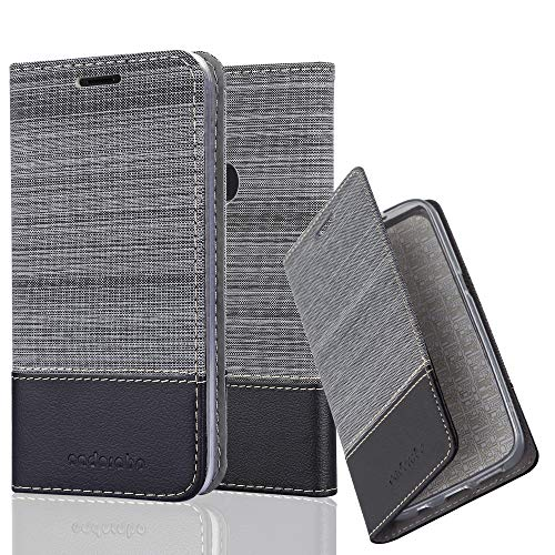 Cadorabo Hülle für OnePlus 5T - Hülle in GRAU SCHWARZ – Handyhülle mit Standfunktion und Kartenfach im Stoff Design - Case Cover Schutzhülle Etui Tasche Book
