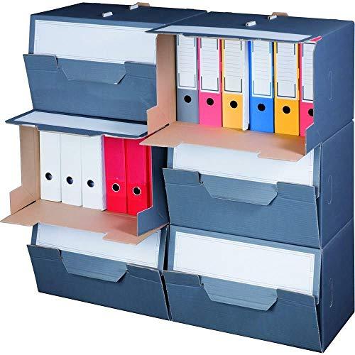Archivbox für Ordner mit Frontklappe Entnahme vorne Order archivieren Ordnerverpackung 10 Stück