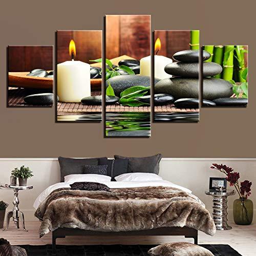 Tela Stampe HD Decorazione Domestica 5 Pezzi Bamboo Wall Art Candele Modulari Immagini Pietra Opere per Soggiorno Poster