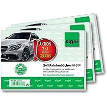 Sigel T1179 Fahrtenbücher für PKW, 3er Set (3xFA614: A6 quer, 40 Blatt)
