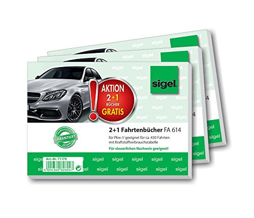 SIGEL T1179 Fahrtenbücher für PKW, 3er Set (3xFA614: A6 quer, 40 Blatt) - für Deutschland und Österreich